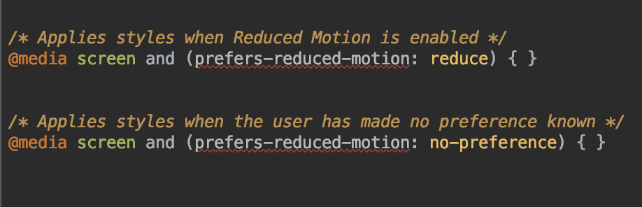 CSS Media query for reduced motion