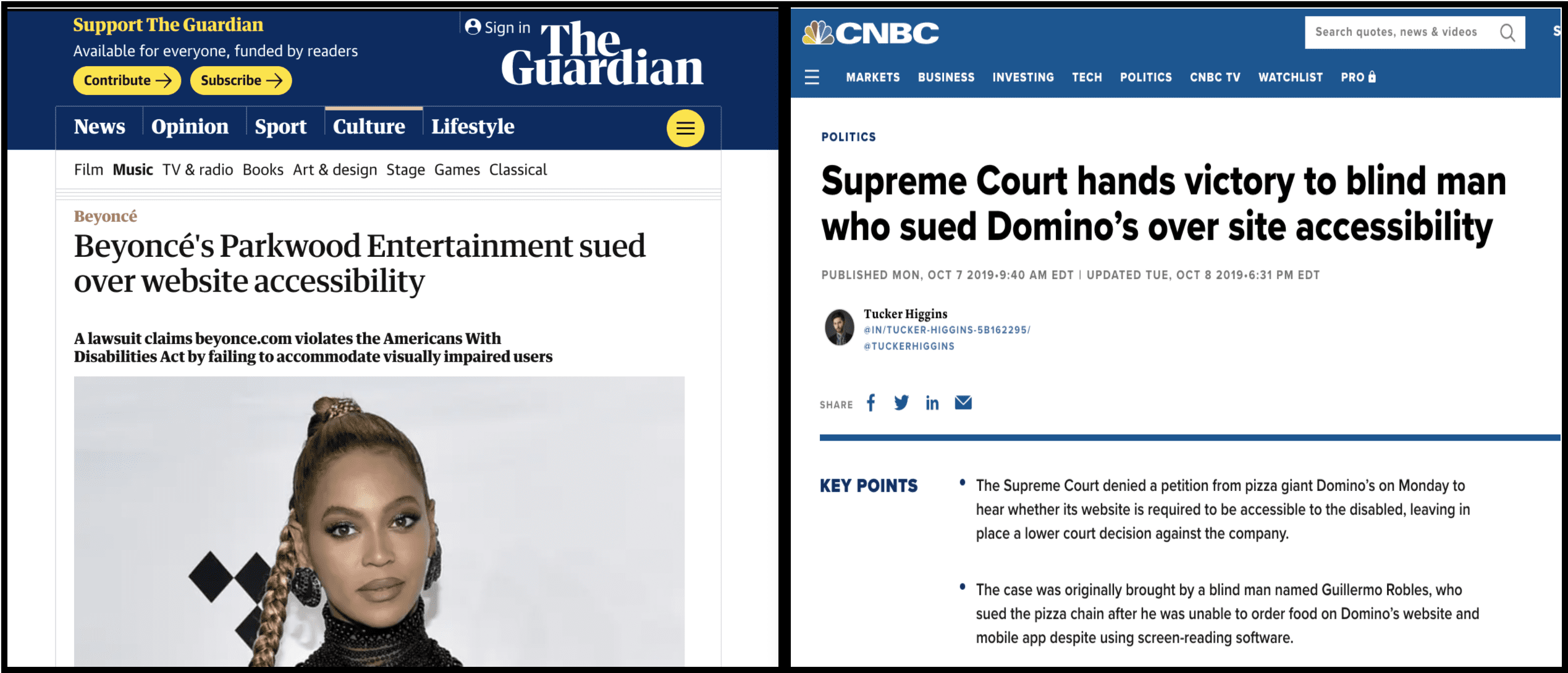 Newspaper article headlines on web accessibility cases