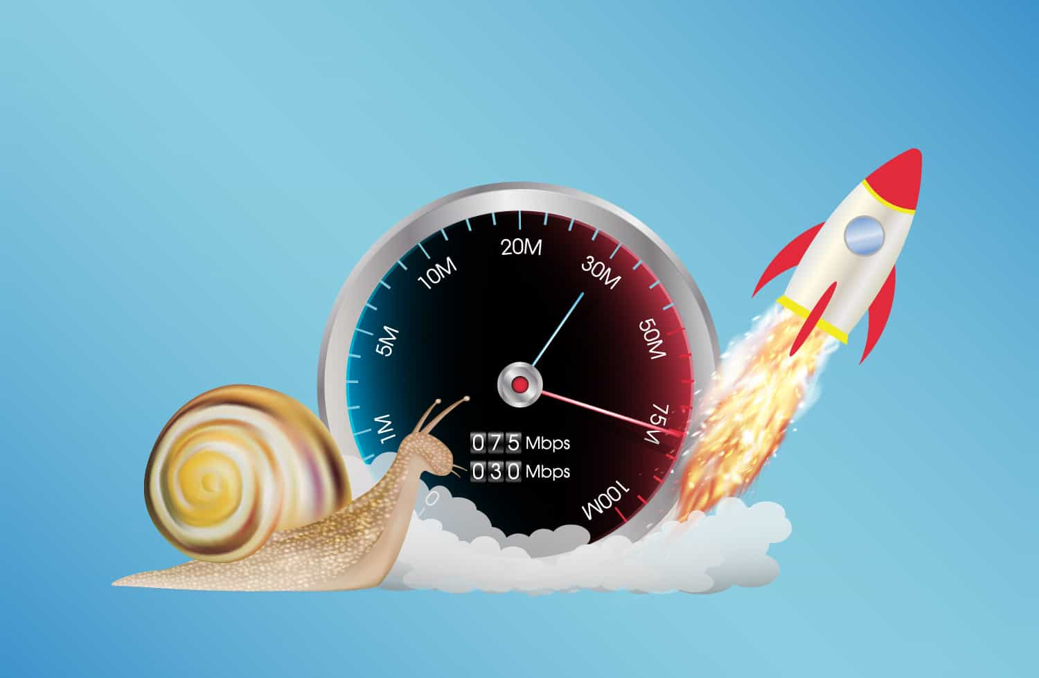 Illustration of a speedometer with a snail at 0 and a rocket at max speed