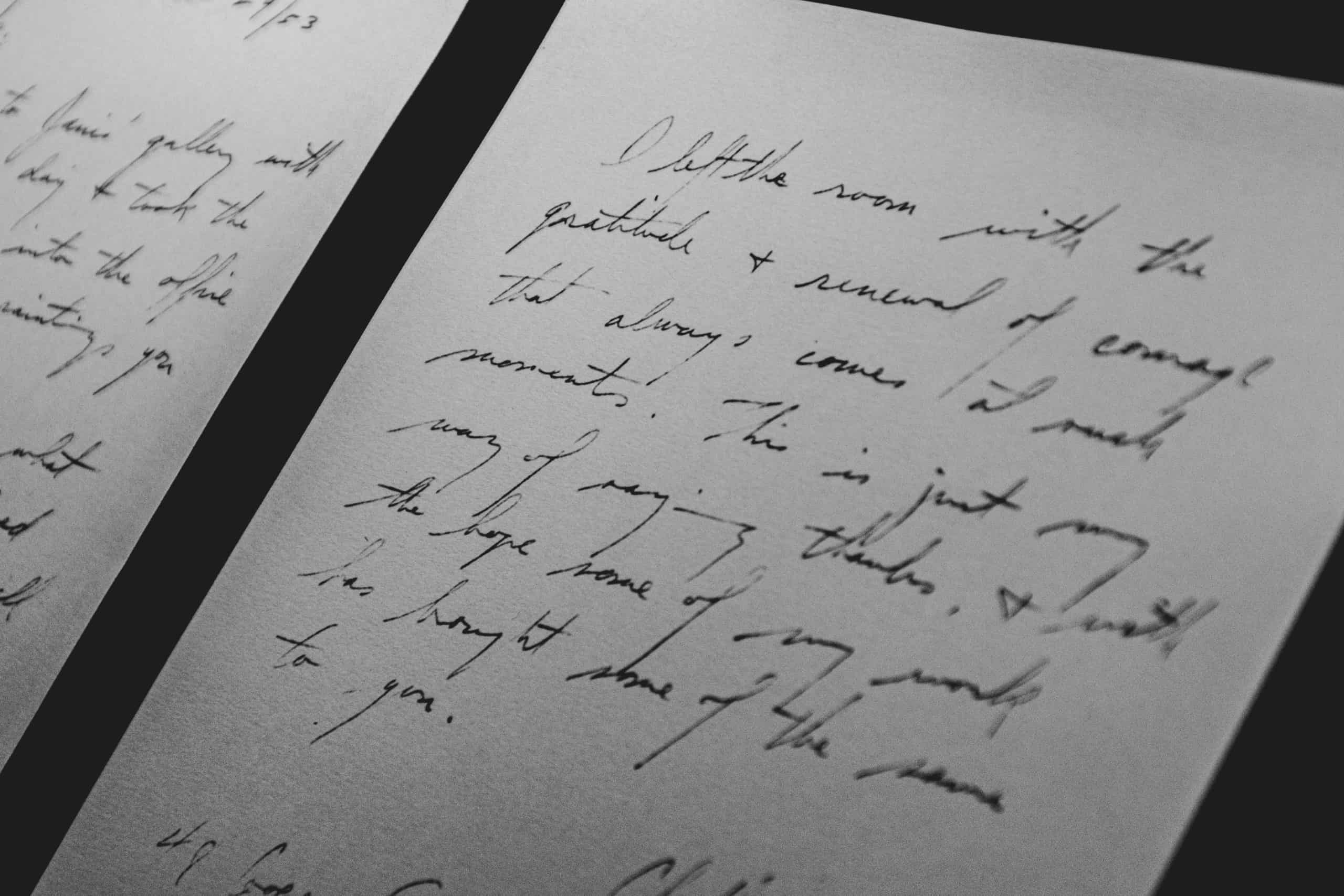 Handwritten text on a journal page